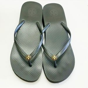 Tory Burch Black Wedge Flip Flops. Size 8.